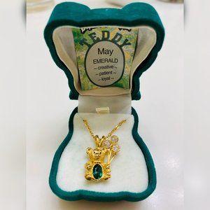 Emerald Teddy Bear Birthstone Necklace-Never Worn